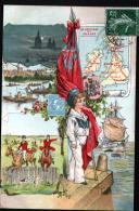 CARTE GEOGRAPHIQUE AVEC REPRESENTATION DE TIMMBRE - GRANDE BRETAGNE ET IRLANDE - Timbres (représentations)