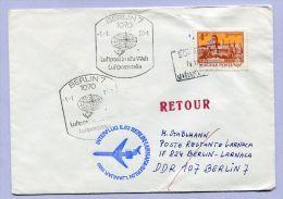 Erstflug Firstflight BERLIN - LARNACA Zuleitung SOPRON UNGARN 1980 (B037) - Luftpost