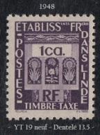 1948 - Ets Français Dans L' Inde - Timbre Taxe - 1 Ca. Violet - - Unused Stamps