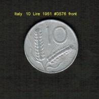 ITALY    10  LIRE  1951  (KM # 93) - 1946-… : Republic