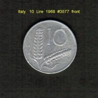 ITALY    10  LIRE  1968  (KM # 93) - 1946-… : Republic