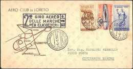 2° GIRO AEREO DELLE MARCHE PER ELICOTTERI - 7 BUSTE CON TUTTI GLI ANNULLI DELLE TAPPE DEL GIRO - 06.08.1960 - Elicotteri