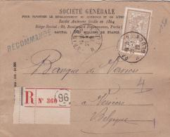 """1920 - ENVELOPPE RECOMMANDEE Avec MERSON PERFORE """"SG"""" De LA SOCIETE GENERALE De PARIS Pour VERVIERS (BELGIQUE) - France"""