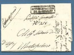 """1811 PREFILATELICA NAPOLEONICA  MARCHE  MUNICIPALITA' DI SARNANO PODESTA' CIMARELLI  """"pressantissima"""" - Italia"""