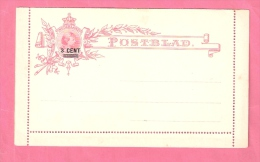 NEDERLAND POSTBLAD OVERDRUK 3 CENT OVER 12 1/2 CT WILHELMINA ONGEBRUIKT - Postal Stationery