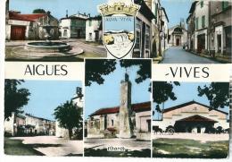 CPSM 30 AIGUES-VIVES  BELLE MULTIVUE CAVE COOPERATIVE FONTAINE RUE - Aigues-Vives