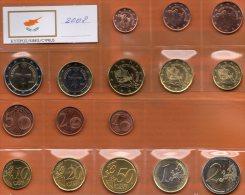 Cyprus 2008 Stg. 16€ Stempelglanz EURO-Einführung Der Staatlichen Münze Zypern Set 1C.-2€ Coins Republik Of South-Kibris - Zypern