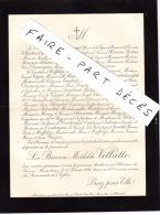 Faire-part Décès La Baronne Mathilde VILLATTE, Château De Vereux, 1895 - Esquela