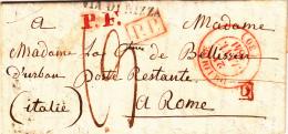 Toulose To Rome Avec An Rouge P.F., P.P, P.D.  Cover Prefilatelica 1841 Poste Restante Con Pagamento 13 Baiocchi - Unclassified