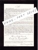 Faire-part Décès M. Charles Raymond Comte DE LAMIRAULT, Conservateur Des Forêts En Retraite, Nancy, 1907 - Décès