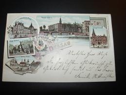 1897 GRUSS AUS DESSAU KRIEGER DENKMAL EVANGl. VEREINSHAUS MARKT ERBPRINZLICHES PALAIS VERLAG WENZEL - Dessau