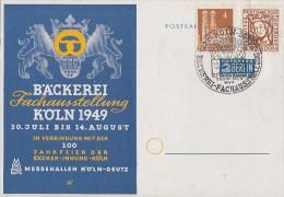 Bizone Sonderkarte Bäckerei-Fachausstellung Köln 1949 Mif Minr.69,74eg SST Köln 10.8.49 - Bizone
