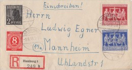 Gemeina. R-Brief Mif Minr.917,943,969,970 Hamburg 9.6.48 - Gemeinschaftsausgaben