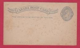 CANADA  // Entier Postal  //  Carte Vierge - 1860-1899 Règne De Victoria
