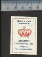 BREDA REGINA HOTEL Café RESTAURANT Dutch Matchbox Label - Matchbox Labels