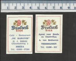 GROLSCH BIER DE BARONIE BREDA TERHEIJDEN ( ALE BIÈRE BEER CERVEZA )  Dutch Matchbox Labels - Matchbox Labels