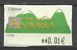 ANDORRA- CORREO ESPAÑOL ETIQUETA QUE YA NO VENDE CORREOS. (S-1A) - Unused Stamps