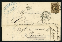 """France 1872 Lettre Affr.30 C. Type Bordeaux Oblit. RARE Ambulant """"CT1+GARE DE NIMES""""(Gard)> Bern Suisse (cover) - Storia Postale"""