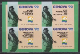 = Genova 92 World Exhibition Of Thematic Philately 18 - 27 September 1992 Autocollants  X 4 Neufs - Cinderellas
