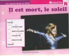 """Les Années Rock Et Yé-Yé NICOLETTA  """" Il Est Mort Le Soleil """" Ed. Atlas TBE - Musik & Instrumente"""