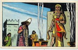 Chromo Le Timbre De Tintin Kuifje  Assourbanipal Devant La Statue De Gilgamesh Mésopotamie Sumérien Dieu Des Enfers - Chromos