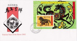 Tokelau 2002 Year Of The Horse MS FDC - Tokelau