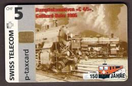 Telefonkarte Schweiz Telecarte Suissei 150 Jahre Schweizer Ei Sanbahn, P-Taxcard 5.- Unbenutzt Inutilisee Auflage, Max. - Trains