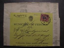 """ITALIA Regno-1878- """"Ondine"""" C. 2 Su 10,00 VERONA>LEGNAGO (descrizione) - 1861-78 Vittorio Emanuele II"""