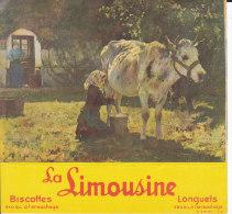 """BUVARD  Réf-JP- Ww-943 (  Avec PUB  )  """"""""  La LIMOUSINE """"""""  Biscottes 340grs à L'Ensachage - Biscotti"""