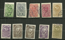 """Autriche Oblitéré ; Y & T ;   N° 206 à 213 ; """" Série Courante Non Dentelé """" - 1918-1945 1ère République"""