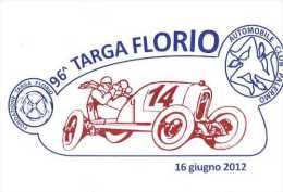 96 TARGA FLORIO 2012 NUMERATA AFFRANCATA BOLLI MANIFESTAZIONE CIRCOLO FILATELICO TERMINI IMERESE NUOVA - Motorsport