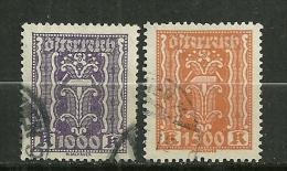 """Autriche Oblitéré ; Y & T ;   316 & 318 ; """" Agriculture Et Industrie """" - 1918-1945 1ère République"""