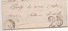 LETTRE DE ROSIERES   1854 TAXE 25 C - Marcofilia (sobres)