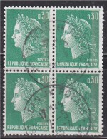 = Type Marianne De Cheffer 0.30 Vert Bloc De 4 N°1611a Oblitéré - 1967-70 Marianne De Cheffer