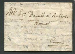 1788  RARA  PREFILATELICA  DA CHIAVENNA   X  COIRA  SVIZZERA  INTERESSANTE TESTO - Italia