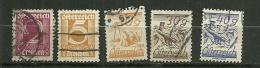 """Autriche Oblitéré ; Y & T ;  332,334,338,344,345 ; """" Série Courante """" - 1918-1945 1ère République"""