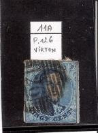 N°11A - Obl.126 - VIRTON - Margé (à Voir) - 1858-1862 Medallions (9/12)