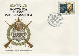 Pologne 1995 FDC Michel N° 3552 YT N° 3341 75 Ans Bataille De Varsovie Joseph Pilsudski Fusil Blason - FDC