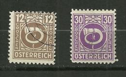 """Autriche Oblitéré ; Y & T ;  524 , 528  ; """" Affranchissement Du Nouvel An """" - 1945-60 Oblitérés"""