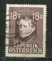 """Autriche Oblitéré ; Y & T ;  663  ; """" Franz Grillparzer"""" - 1945-60 Oblitérés"""