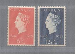 Curacao 1948 Unused Hinged  Stamp(s)  Wilhelmina Jubilee Nrs. 196-197 - Curacao, Netherlands Antilles, Aruba