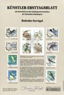 Germany 1991 Mi. 1539-1542 FDC Art Card, Endangered Sea Birds, Ruff, Little Tern, Brent Goose, White-tailed Eagle