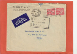 PAIRE IRIS 1F SUR ENV PAR AVION MORY ET CIE MARSEILLE 4/3/41 POUR TUNIS - 1939-44 Iris