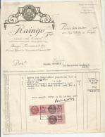 Facture  Raingo Paris  Ferronerie; Bronze  Timbres Fiscaus 1f50 Et 25c Marques Da Dessus 1931 - France