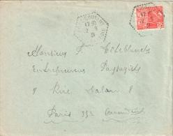 2687 PRAZ COUTANT Haute Savoie Lettre Entière Yv 272 Fashi 50c Rouge Ob Hexagone Pointillé Agence Postale Lautier F4 - Postmark Collection (Covers)