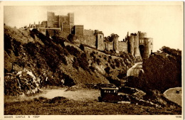U.K. Dover Castle & Keep,  Double View, Old Postcard, Beautiful Condition - Dover