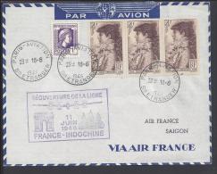FR - 1946 -  AIR FRANCE PARIS-SAIGON - REOUVERTURE DE LA LIGNE FRANCE INDOCHINE - - Postmark Collection (Covers)