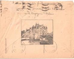 2682 Enveloppe Illustrée Au Verso Château De Chenonceaux Probablement Compagnie D'Orléans Recto Dégradé à L'oblitération - Châteaux