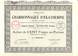 ACTION DE 100 FRS -COMPAGNIE DES CHARBONNAGES D'EKATHERINE - 1927 - Mines
