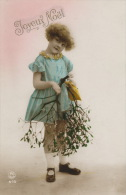 ENFANTS - LITTLE GIRL - MAEDCHEN -  Jolie Carte Fantaisie Portrait Fillette Et Gui De Joyeux Noël - Portraits